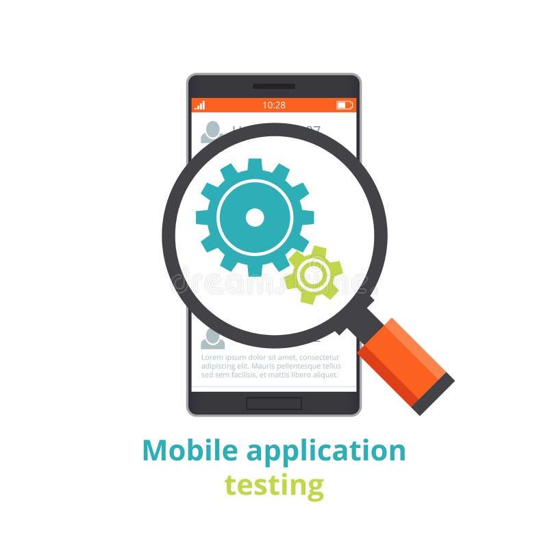 Prueba de aplicaciones móviles Ejemplo plano aislado en el fondo blanco ilustración del vector