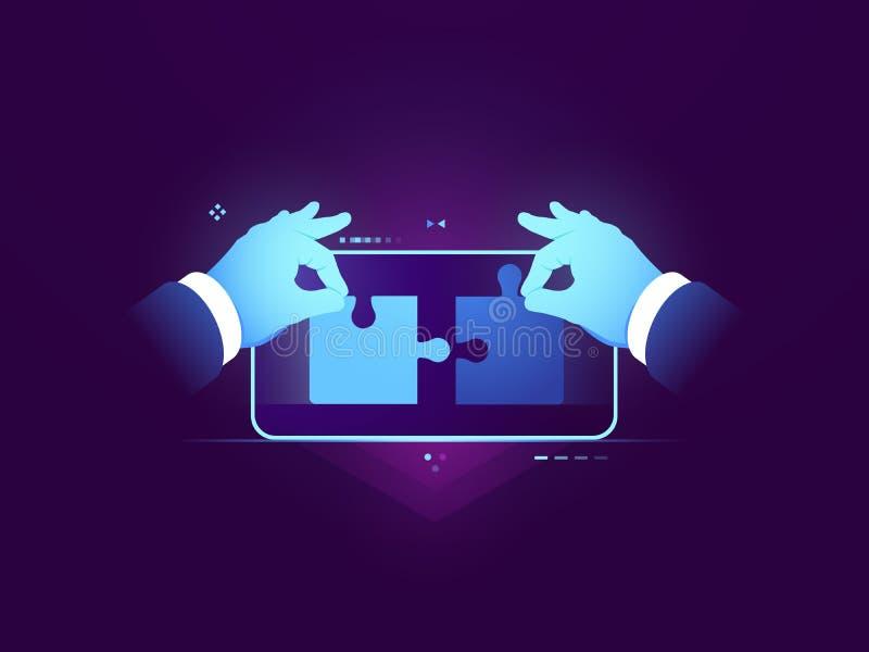 Prueba de la aplicación móvil, conexión de dos pedazos de rompecabezas, concepto del desarrollo del diseño del ui del ux, experie stock de ilustración