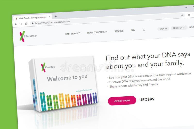 prueba de la DNA 23andMe para descubrir a parientes en todo el mundo usando el genoma humano descifrado imágenes de archivo libres de regalías