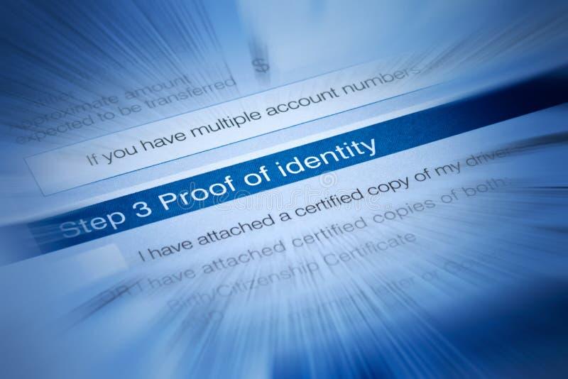 Prueba de la identidad imagen de archivo libre de regalías