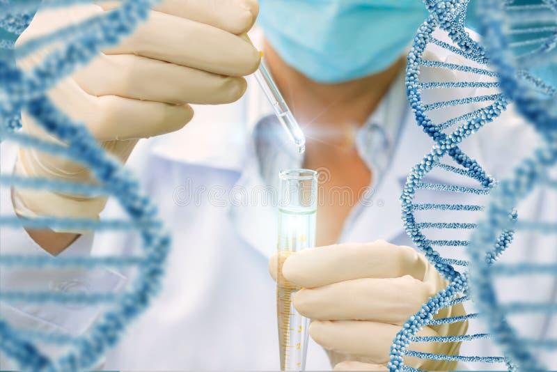 Prueba de las moléculas de la DNA fotos de archivo libres de regalías