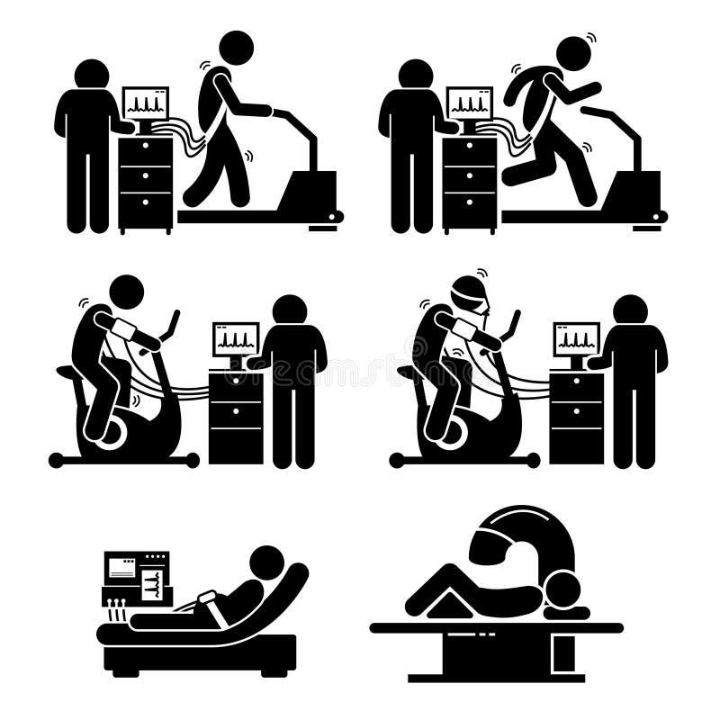 Prueba de tensión del ejercicio para la enfermedad cardíaca Clipart stock de ilustración