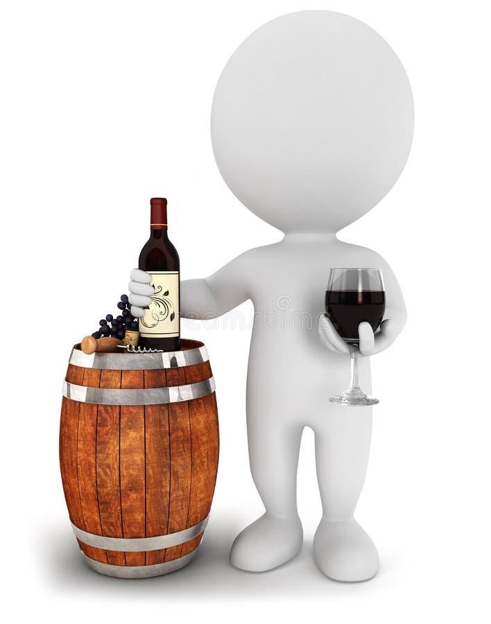 prueba de vino blanca de la gente 3d stock de ilustración