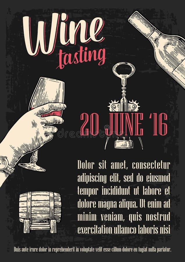 Prueba de vino Mano femenina que sostiene un vidrio de vino Ejemplo del grabado del vector del vintage Bosquejo dibujado mano par stock de ilustración
