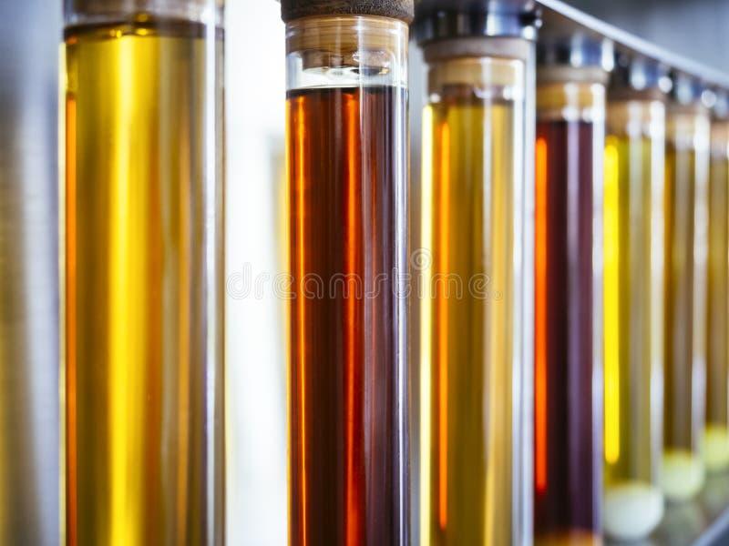 Prueba del aceite del etanol en industria de la investigación del combustible del tubo foto de archivo