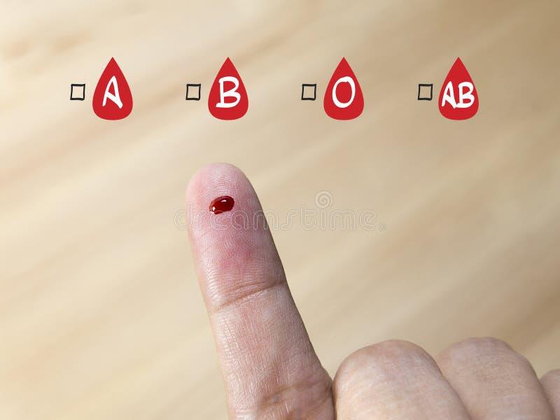 Prueba del grupo sanguíneo con el icono del grupo sanguíneo fotos de archivo