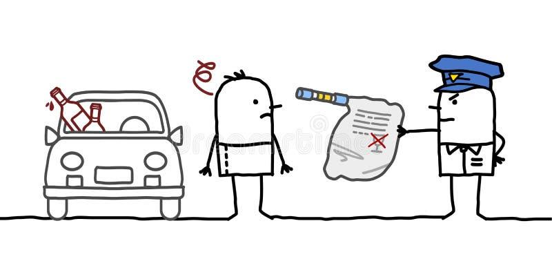 Prueba del hombre y de alcohol libre illustration