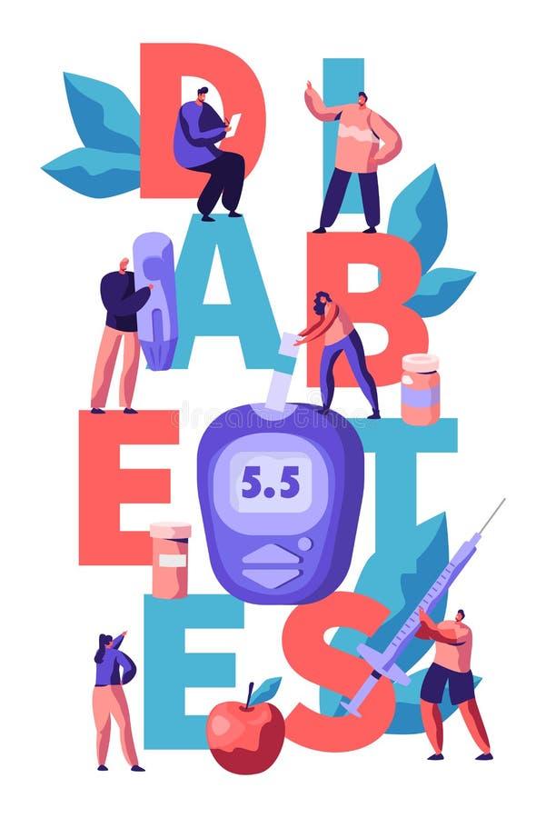 Prueba del nivel de la glucosa en sangre de la diabetes en la bandera de la tipografía de Digitaces Glucometer El doctor Measurin libre illustration
