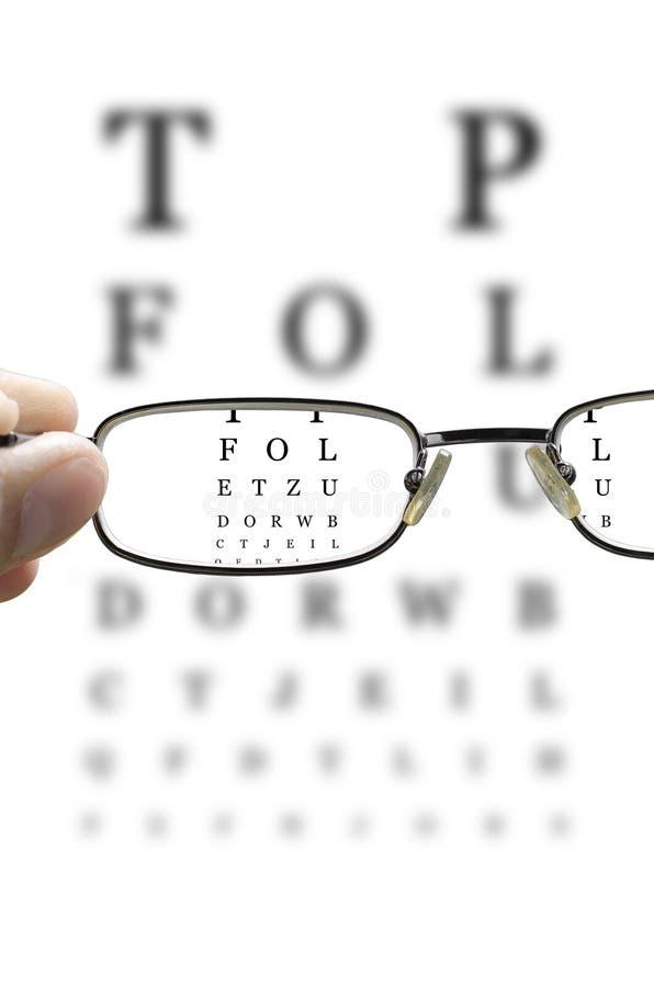 Prueba del ojo a través de los vidrios verticales foto de archivo