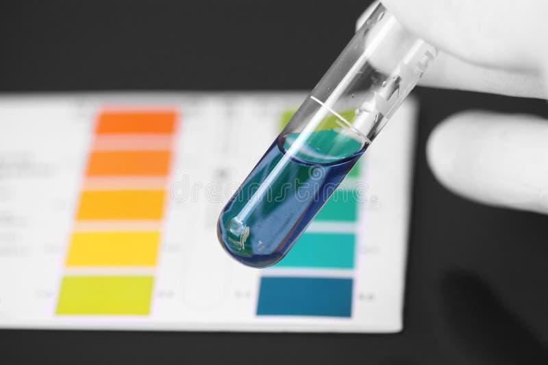 Prueba del pH de una sustancia química en un tubo de ensayo fotos de archivo
