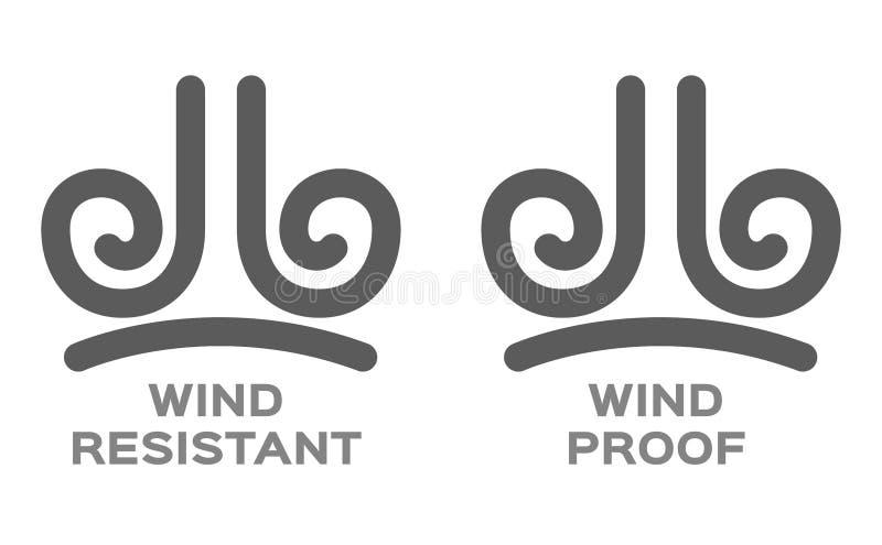 Prueba del viento y vector resistente del icono stock de ilustración