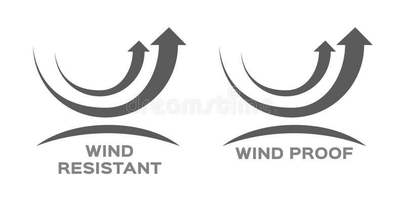 Prueba del viento y vector resistente del icono ilustración del vector