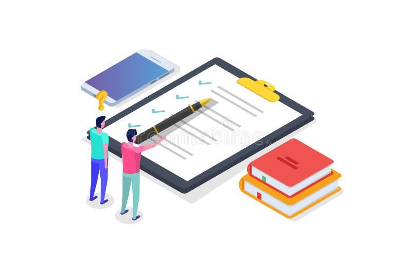 Prueba en línea, aprendizaje electrónico, concepto isométrico de la educación stock de ilustración