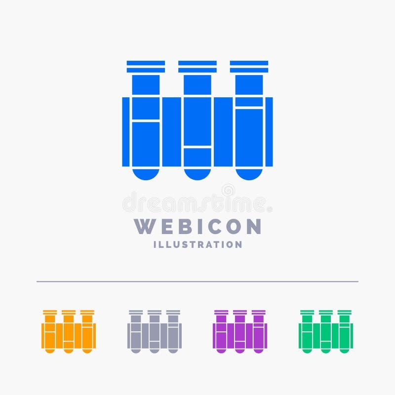 Prueba, tubo, ciencia, laboratorio, plantilla del icono de la web del Glyph del color de la sangre 5 aislada en blanco Ilustraci? stock de ilustración