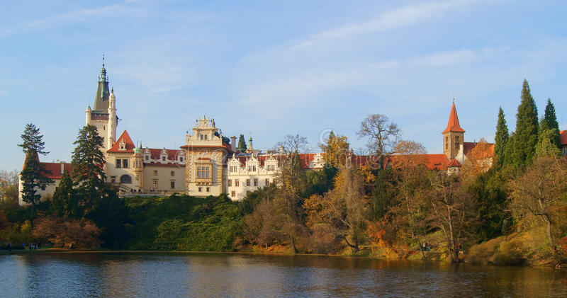 Pruhonice castle at autumn stock photography