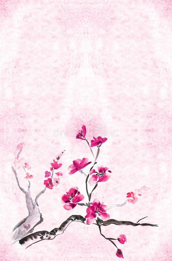 Pruim blossomm stock illustratie