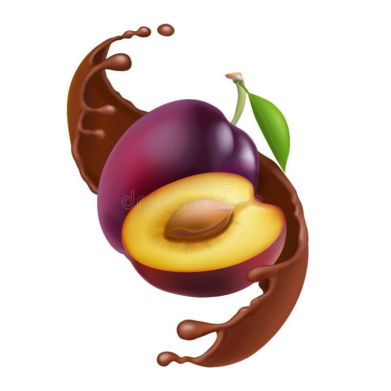 Pruim in chocoladeplons van dalings bruine chocolade Realistische embleemillustratie vector illustratie