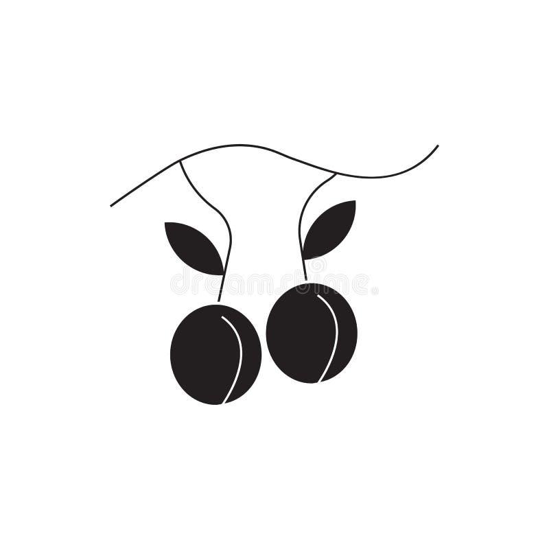 Pruim met bladpictogram Element van Fruit voor mobiel concept en webtoepassingenpictogram Glyph, vlak pictogram voor websiteontwe royalty-vrije illustratie