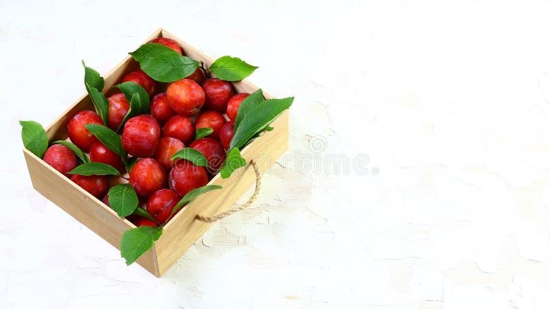 Prunes avec des feuilles dans une boîte en bois Sur un fond clair L'espace libre pour le texte Configuration plate photo stock