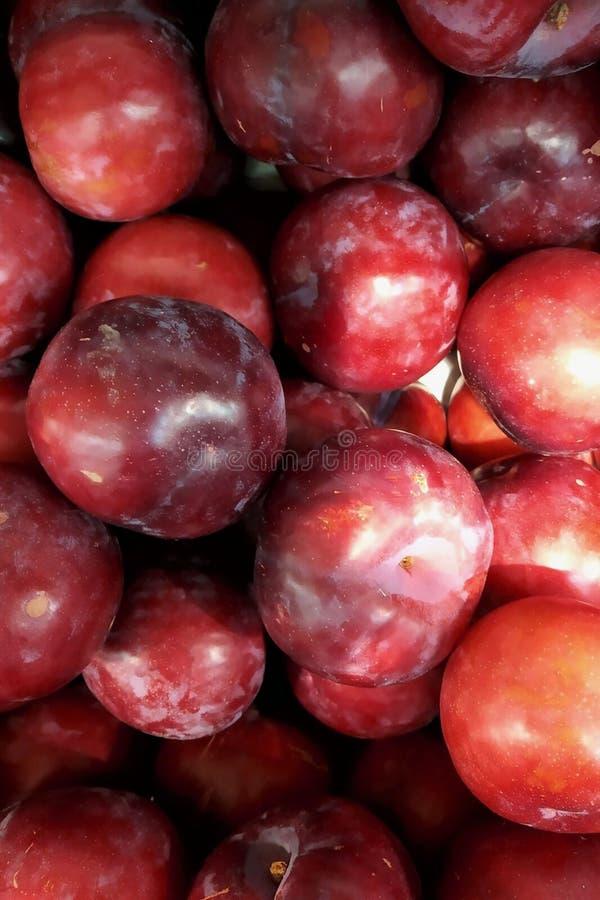prunes bleues de fruit frais une fin dans une boîte, une boîte un fond sur le marché images libres de droits