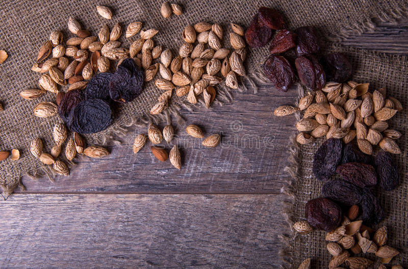 Prunes, dried apricots, raisins, almonds, dried tomatoes - handmade Bio products. Dried fruits, vegetables, nuts and royalty free stock images