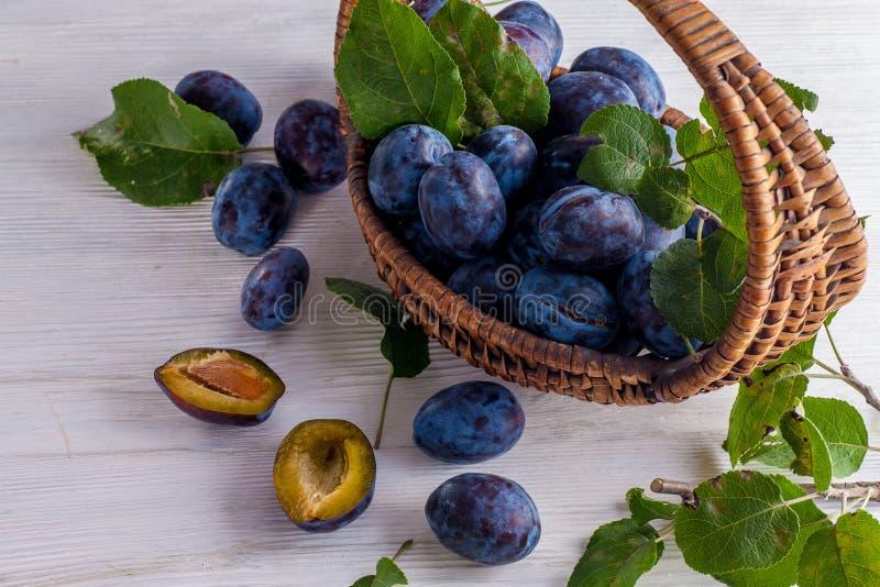 Prunes fraîches dans le baske photographie stock