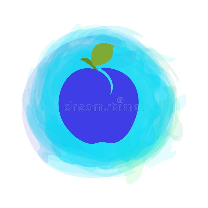 prunes Fruto do esboço com a folha isolada no fundo redondo da aquarela Vetor tirado m?o da garatuja Etiqueta do alimento biol?gi ilustração stock
