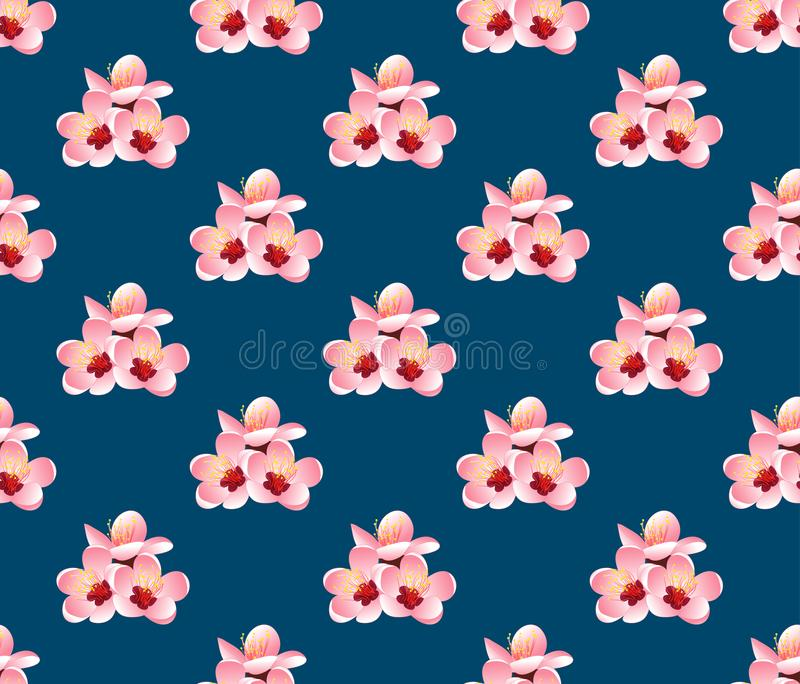 Prunus Persica - цветение цветка персика на предпосылке сини индиго также вектор иллюстрации притяжки corel иллюстрация вектора