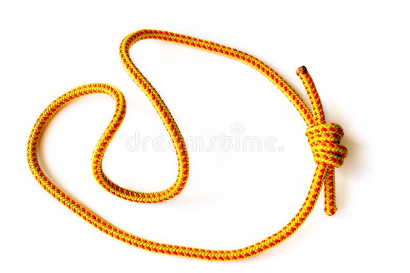 A prusik loop cord on 5mm rope, closed with a double fisherman knot. This loop is used in climbing, canyoneering, mountaineering stock image