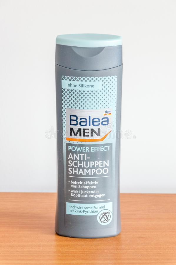 DM Balea Men anti dandruff shampoo without silicones. Pruszcz Gdanski, Poland - August 19, 2018: DM Balea Men anti dandruff shampoo without silicones stock photo