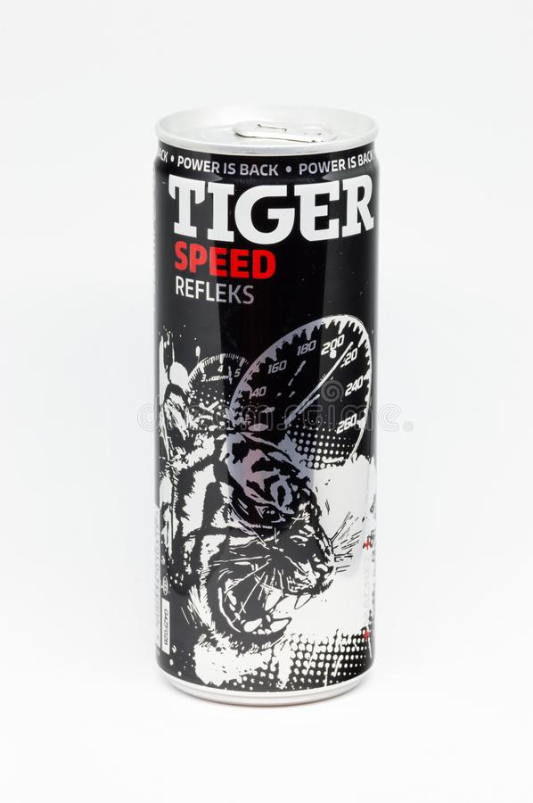 Can of Tiger speed refleks energy drink on white background. Pruszcz Gdanski, Poland - December 12, 2018: Can of Tiger speed refleks energy drink on white royalty free stock photos