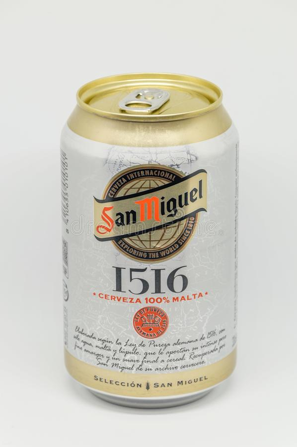 Can of San Miguel beer. royalty free stock photography