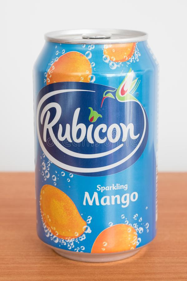 Aluminium can of Rubicon Sparkling mango royalty free stock photography