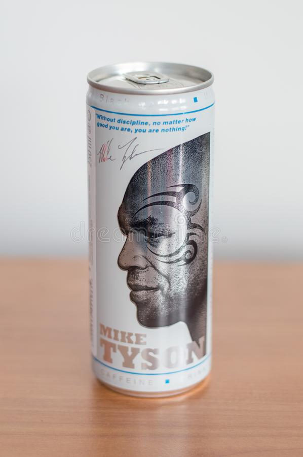 Can of Black energy drink zero sugar. Aluminium can with Mike Tyson. Pruszcz Gdanski, Poland - March 5, 2018: Can of Black energy drink zero sugar. Aluminium stock image