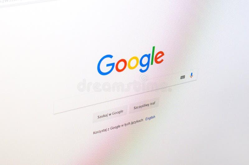 Polish language version of Google website with logo on PC display screen. royalty free stock photo