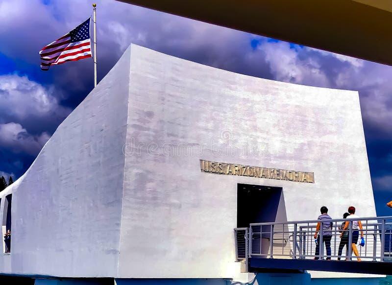 Pryda med pärlor hamnen, Honolulu, HI-minnesmärke royaltyfri foto