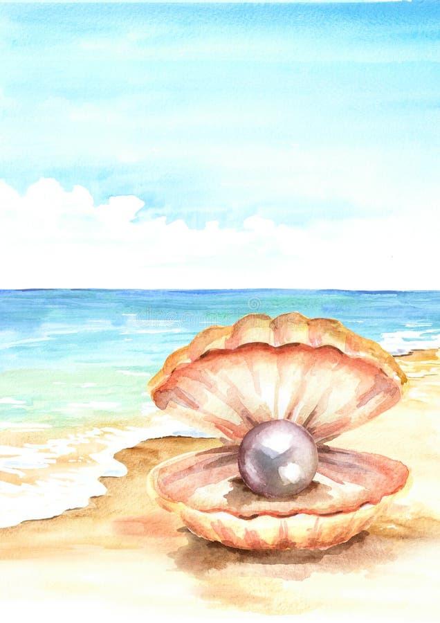 Pryda med pärlor i skalet på den tropiska stranden för sommar med guld- sand Hand dragen vertikal vattenfärgillustration royaltyfri illustrationer
