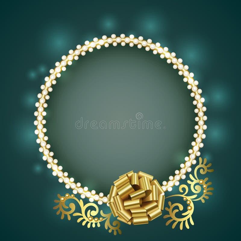 Pryder med pärlor den guld- ramen för tappning med vit och den guld- pilbågen vektor illustrationer