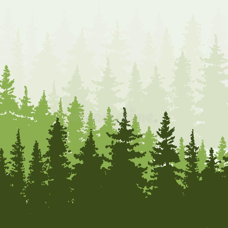 Prydlig skog i kullarna Gräsplan- och beigafärger stock illustrationer