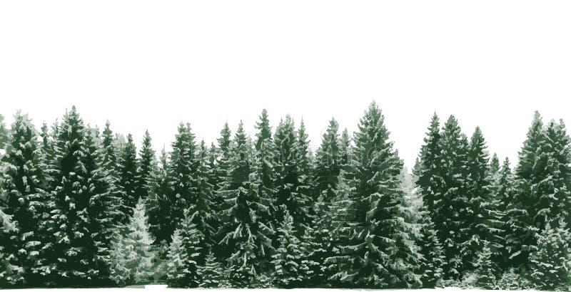 Prydlig trädskog som täckas av ny snö under vinterjultid vektor illustrationer