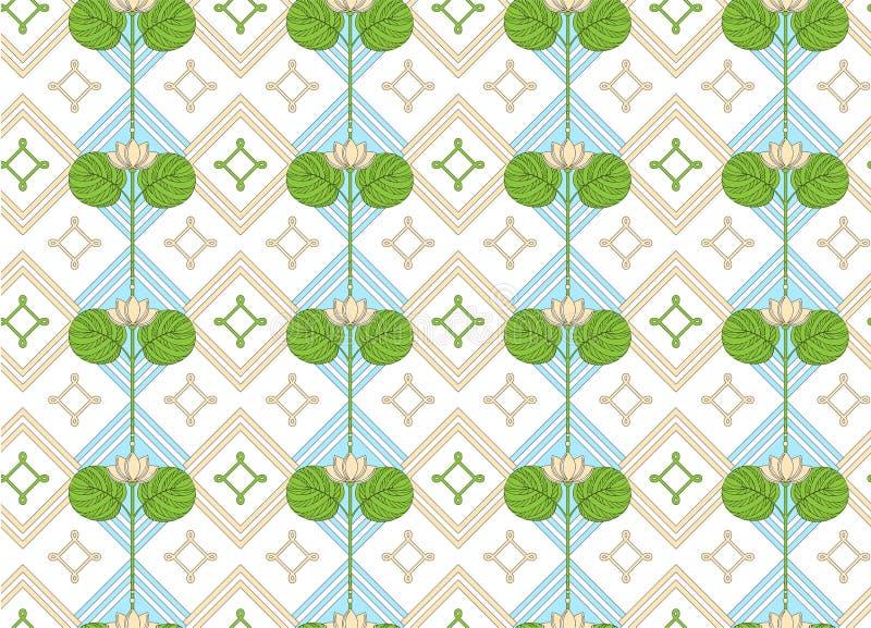 Prydnad av lotusblomman seamless blom- modell royaltyfri illustrationer