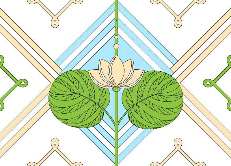Prydnad av lotusblomman seamless blom- modell stock illustrationer
