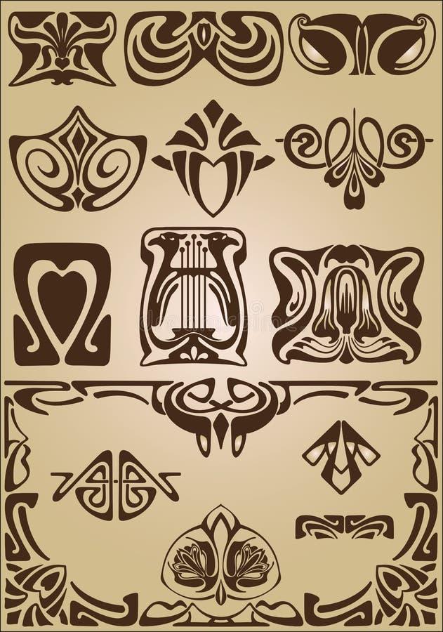 Prydnad för Art Nouveau beståndsdel- och hörndesign royaltyfri illustrationer