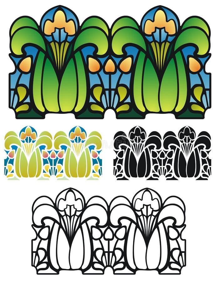 Prydnad för Art Nouveau stilgräns stock illustrationer