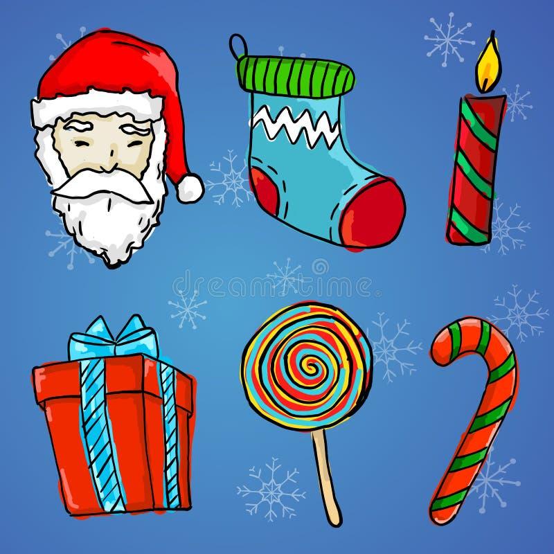 Prydnad för 6 jul - Santa Claus, gåva, stearinljus, socka, klubba royaltyfri illustrationer