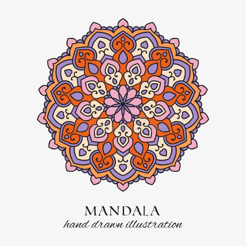 Prydnad för kulör orientalisk runda för Mandala blom- Utdragen garnering för färgrik vektorhand vektor illustrationer