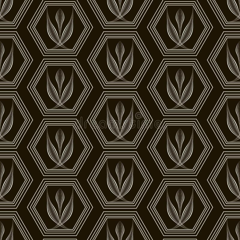 Prydnad för sömlös modell för vektor monokrom med stiliserad geomet royaltyfri illustrationer