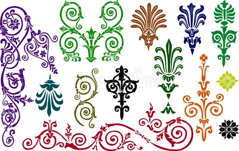 prydnad för samlingsfärgelement vektor illustrationer