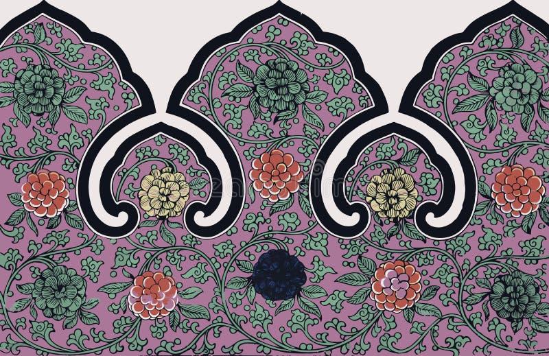 Prydnad för traditionell kines för Grunge blom- stock illustrationer
