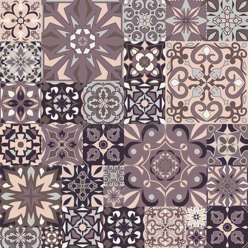 Prydnad för vektormosaikpatchwork med fyrkantiga tegelplattor seamless textur Dekorativ modell för portugisiska azulejos royaltyfri illustrationer